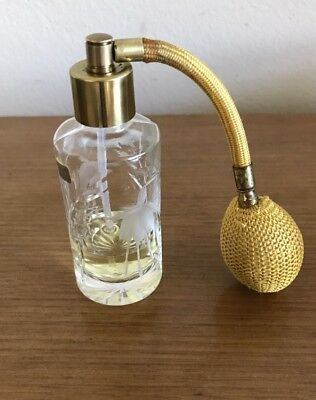 VIntage STUART CRYSTAL Perfume Bottle: Atomiser, Brass Fittings, Etched Fuscia