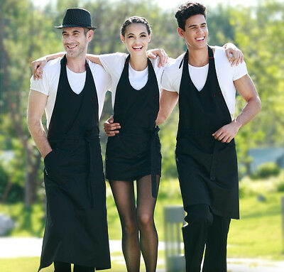Quality Unisex Apron Washable Pocket Waiter Waitress Chef Kitchen Catering Black