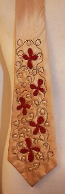 ORIGINAL VINTAGE MENS SATIN TIE. GOLD WITH RED EMBROIDERY. AS IS 1950s.