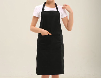Unisex Apron Washable Pocket Waiter Waitress Chef Kitchen Catering Black Fast Po