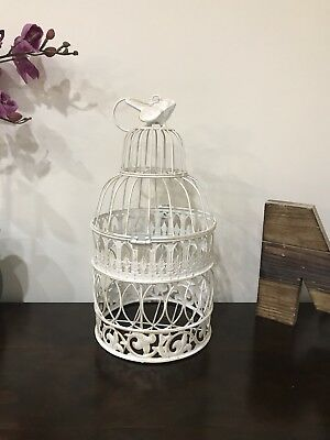 White Metal ♡ Bird Cage Table Center Piece.vintage Style