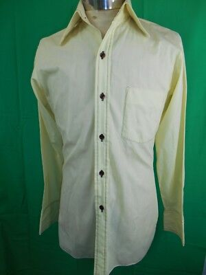 Vintage 1960s 70s Pale Yellow Salco Poly/Cotton Dress Shirt 90cm Chest Small