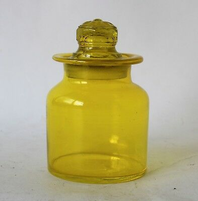 Vintage Retro 60s/70s ART GLASS APOTHECARY JAR/CANISTER Citrine Yellow