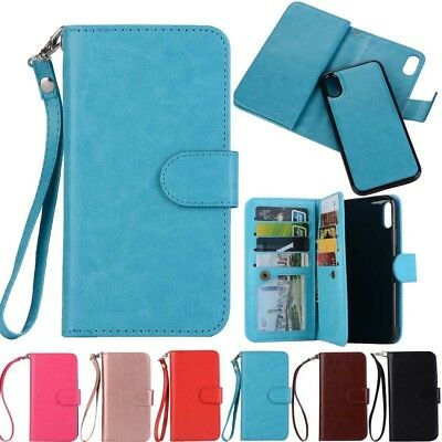 Flip Leather Magnetic Back Removable Wallet Case Cover For iPhone Samsung Phone