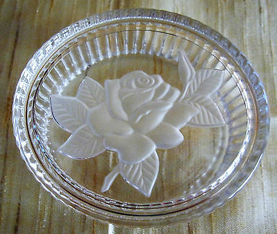 Vintage Clear Pressed /Embossed Glass Oval Pin Dish with lid