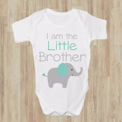 I am the Little Brother Grey Cute BABY GROW BODYSUIT VEST GIFT BABYSHOWER