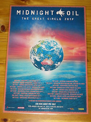 MIDNIGHT OIL - 2017  The Great Circle Australian Tour - Laminated Promo Poster.