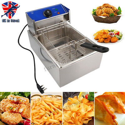 10L Electrical Deep Fryer Commercial Basket Stainless Steel Tank Fat Chip UK New