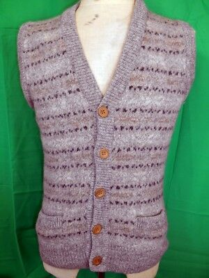 Vintage 70s 80s Grey Pure Wool Doni Knitted Button Up Fair Isle Vest S 90cm