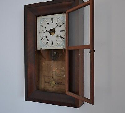 Antique American  Waterbury  Clock  Co Mahogany case  for restoration