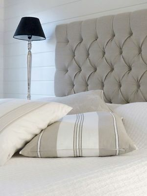 "New  Luxury Bw   Headboard In Linen Fabric  Extra Tall 44""  Tall Faric Buttons"