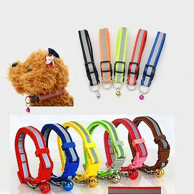 Pet Puppy Dog Kitten Soft Glossy Reflective Collar Safety Buckle with Bell 1.0cm