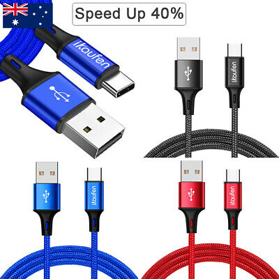 2x 3A FAST Strong Braided USB Type-C 3.1 USB-C Data Sync Charger Charging Cable