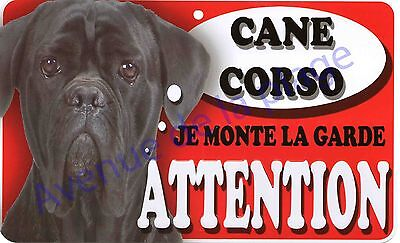 Plaque aluminium Attention au chien - Je monte la garde - Cane Corso - NEUF