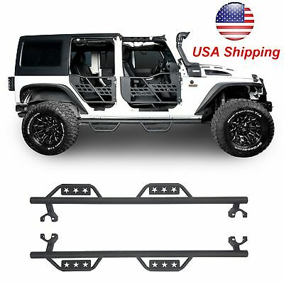 Textured Black Side Step Running Boards For Jeep Wrangler Unlimited JK 4Dr  07 18