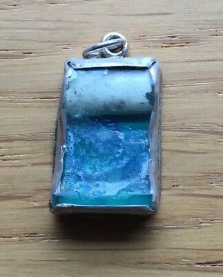 Ancient Roman Glass & Sterling Pendant - Artisan Rustic Blue
