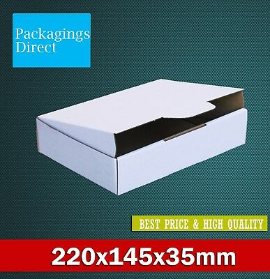 50 Diecut 220x145x35mm White Mailing Boxes Die Cut Shipping Cardboard Carton