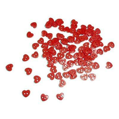 Buddly Crafts 5mm Miniature Buttons - 100pcs Red Hearts