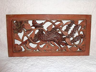 Antique Chinese Carved Relief Wood Architectural Salvage Panel, Bird, Screen