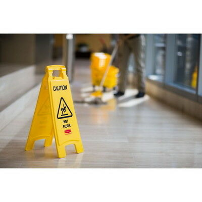 Floor Safety Sign 2-Side Caution Wet Floor Yellow Accessories Cleaning Equipment