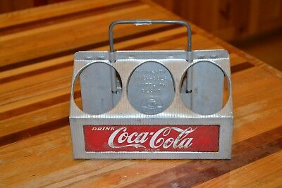 Vintage Coca-Cola Aluminum 6-bottle Caddy Carrier in GREAT Condition!! L@@@K!