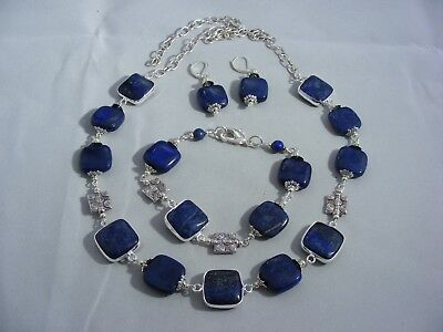 Gorgeous Sterling Silver (925) And Lapis Lazuli Set, Earrings Bracelet, Necklace