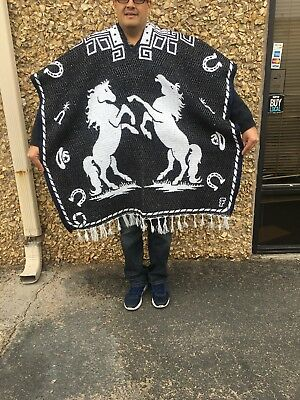 Mexican Poncho ,Blanket Serape,Horse ,Horse shoe ,One Size Fit All, BLACK,WHITE