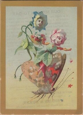 Victorian Trade Card-Shaub & Burns Shoes-Lancaster, PA-Anthropomorphic Flowers