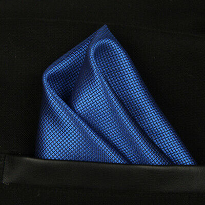 (T01) Royal Blue Solid Men Silk Pocket Square Hanky Wedding Party Handkerchief