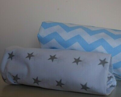 2 x Cot Bed Fitted Sheet 100% COTTON FOR BABY BOY STARS CHEVRON CLOUDS