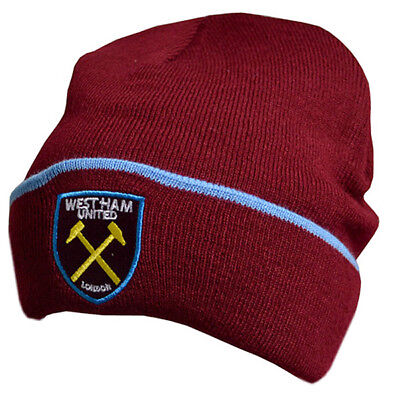 West Ham United Fc Crest Cuff Knitted Hat Cap Winter Football Club New Xmas Gift