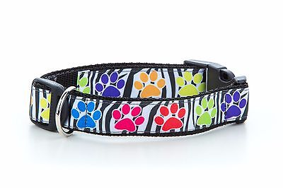 Classic Paw Prints Multi Coloured Puppy Dog Collar OR Lead Handmade in UK