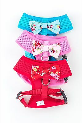 Pink OR Blue Cute Puppy Dog Harness with Cath Kidston fabric oversized bow