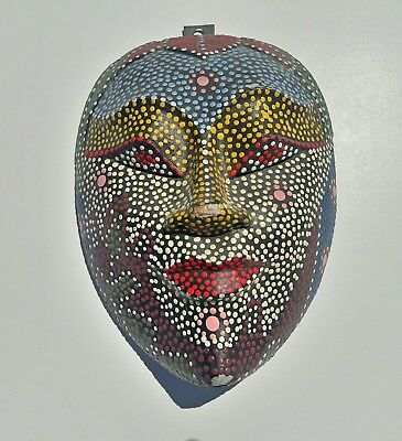 Stunning Vintage Hand Crafted Oriental Beaded Wooden Mask