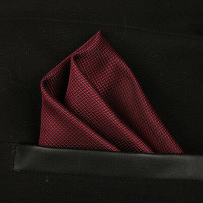 (T15)Burgundy Red Silk Men Formal Pocket Square Hanky Wedding Party Handkerchief