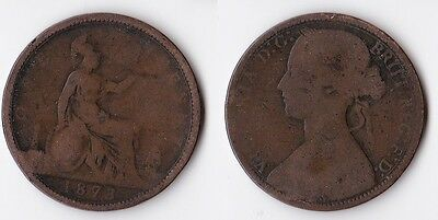 1873 Great Britain 1 penny coin