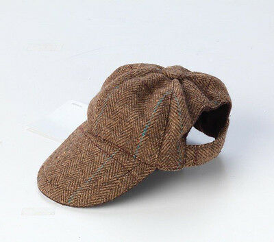 Brown Tweed Dog Hat / Cap for Small/Medium dogs