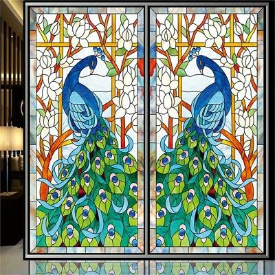 OstepDecor Custom Peacock Translucent Non-Adhesive Frosted Stained Glass Window