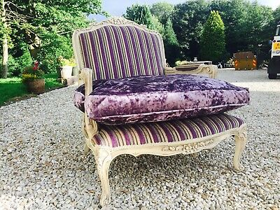 French Antique style Chair & Foot Stool Crushed Velvet *Stunning**