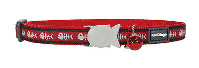 Red Dingo Red Fish Bone Cat / Kitten Collar Size - one size - comes with bell
