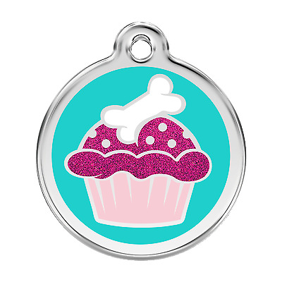 Cupcake Glitter Red Dingo Dog Tag Small, Med, Large. FREE ENGRAVING