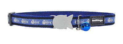 Red Dingo Blue Fish Bone Cat / Kitten Collar Size - one size - comes with bell