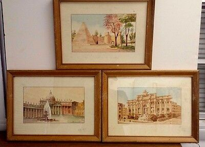 "Group of Three Vintage Signed Watercolor Scenes of Classical Rome 5 1/2"" x 9 1/2"