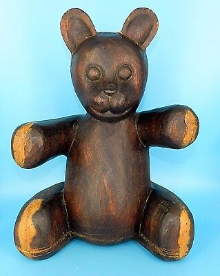 "Antique Large Hand Carved Black Forest Folk Art Wood Teddy Bear Solid 17"" 14 Lbs"