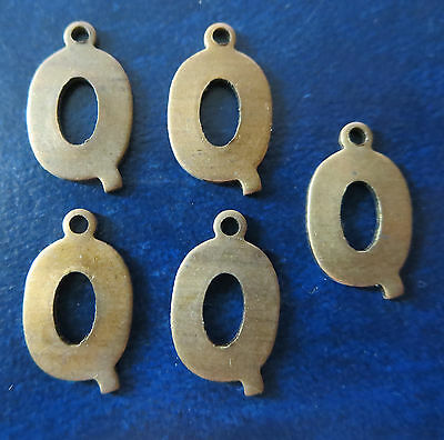 """Vintage 1/2"""" Brass Letters  """"q""""      Arts + Crafts  Jewelry"""