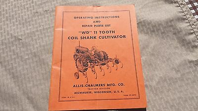 1950's Operating Instruction & Repair Book WD 11 Tooth Allis Chalmers Cultivator