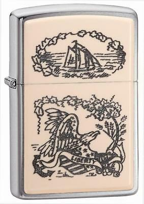 Zippo Windproof Lighter With Scrimshaw Liberty Eagle Design , 29517, New In Box