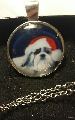Usa Seller!  Brand New Silver Adorable Santa Shihtzu Dog Necklace Dg66