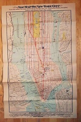 Antique c1890s Broadway Central Hotel Map of New York City Steamship cable cars
