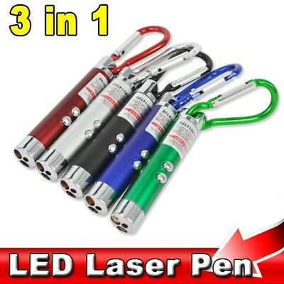 3 in1 Keychain UV Money Detector + LED Torch + Red Laser Pointer Pen Cat Toy